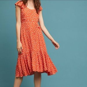 Anthropologie Maeve Orange Print Dress